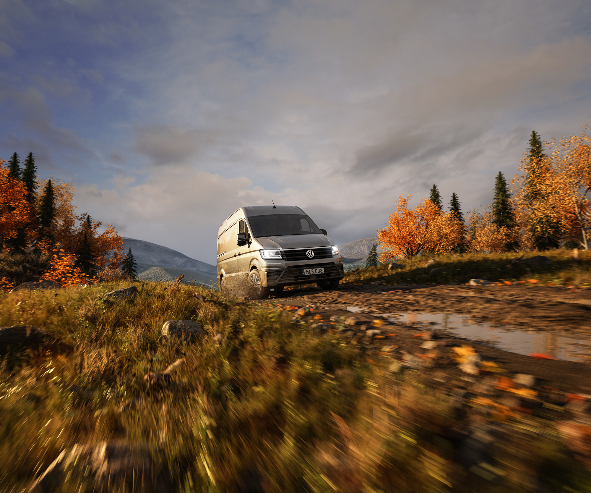Volkswagen Crafter in the mountains on a backyard in autumn, muddy road Volymax cabinet and pickup Skåp lastbil