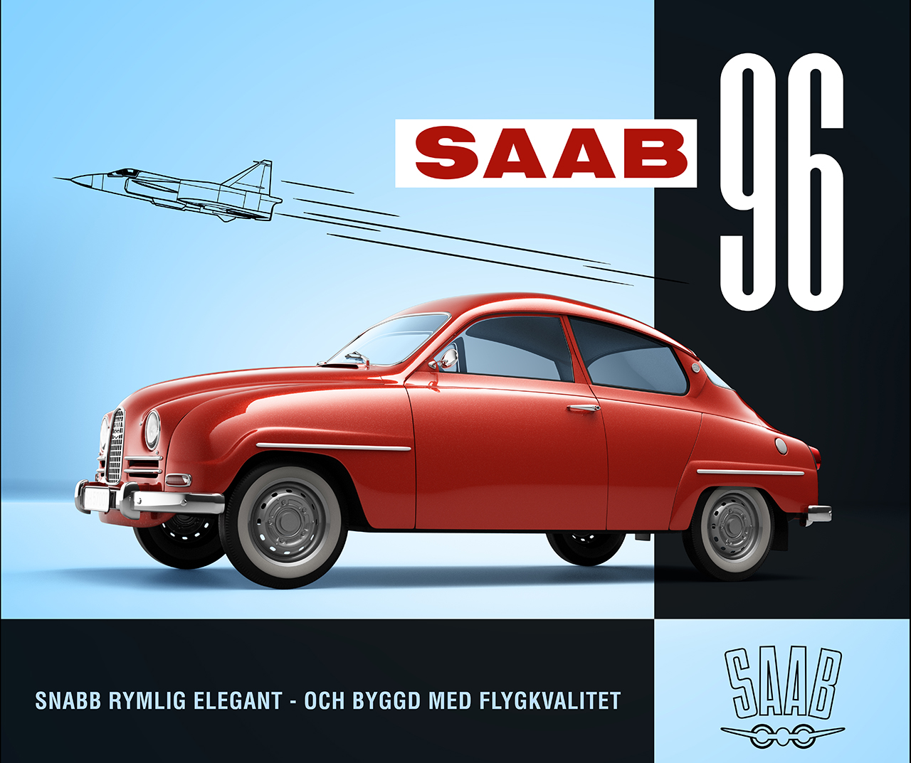 SAAB 96 1968 v4 box design retopo 3d model of red car from the 60