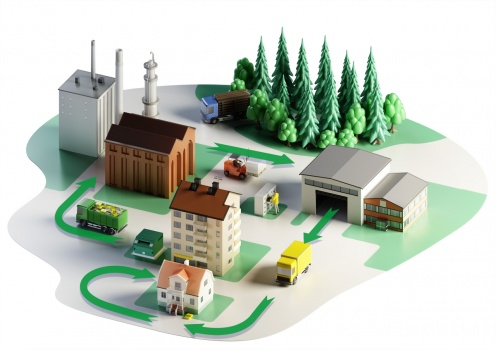 Animation for recycling of eniro telephone directory telefonkatalogen city trucks reuse model återvinning stad lastbilar