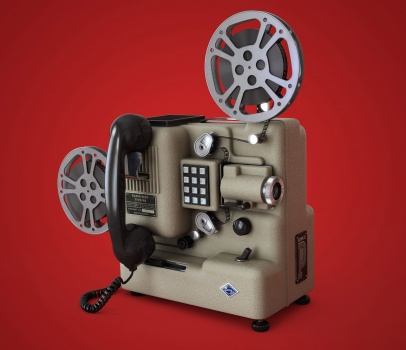 old telephone with movie projector, phonograph, television and lp album skiva telefon filmprojektor grammofon TV teve mobil telefon