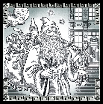 Illustration label Goder Aftonglögg with santa Claus.