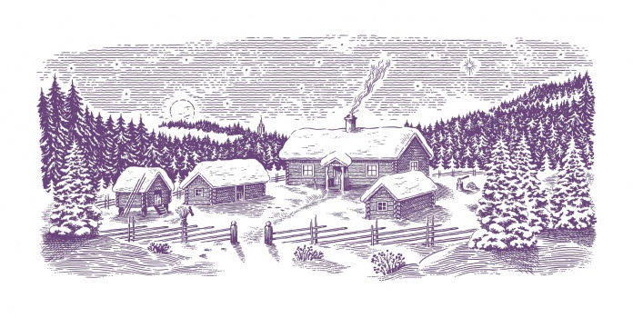 christmas, cottage, woodcut