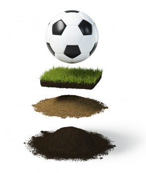 Football and wheel tires on land plants with different layers of gravel stone ground asphalt and sewer pipe fotboll gräs mark hjul genomskärning sand grus stenar