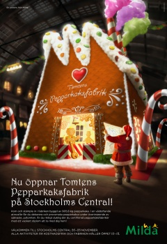 Advertice for Milda Christmas Event at Stockolm Central Station
