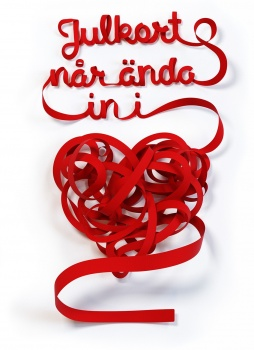 Posten Christmas card campaign satin ribbon bows and headlines form as a heart julkort sidenband hjärta