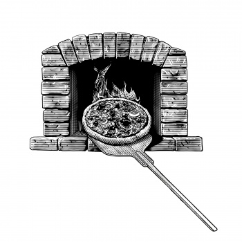 stone-baked pizza in the wood oven etching illustration in engraving style gravyr träsnitt