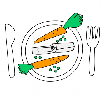 fodd and a plate and carrots and an usb
