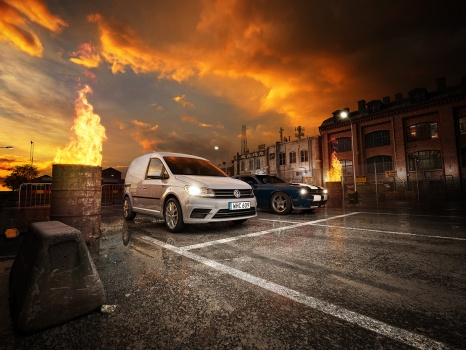 VW volkswagen caddy streetraceing in a industrial area, fire burning streetcars at night bilar industri kvarter  3d gaturace