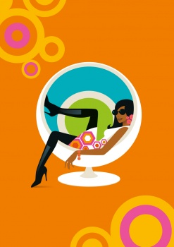 Woman in retro chair