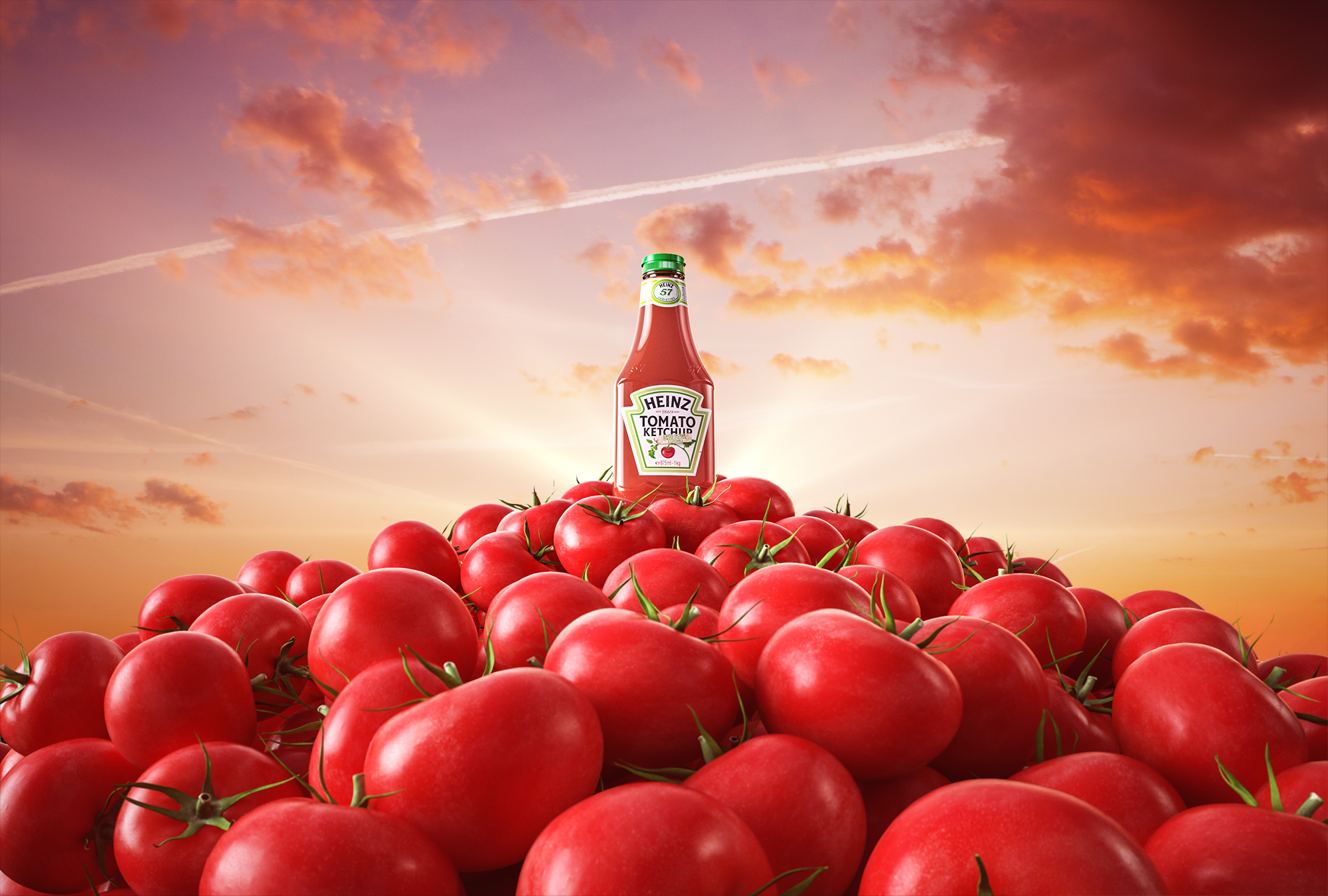 A mountain of tomatoes with a bottle of heinz ketchup on top