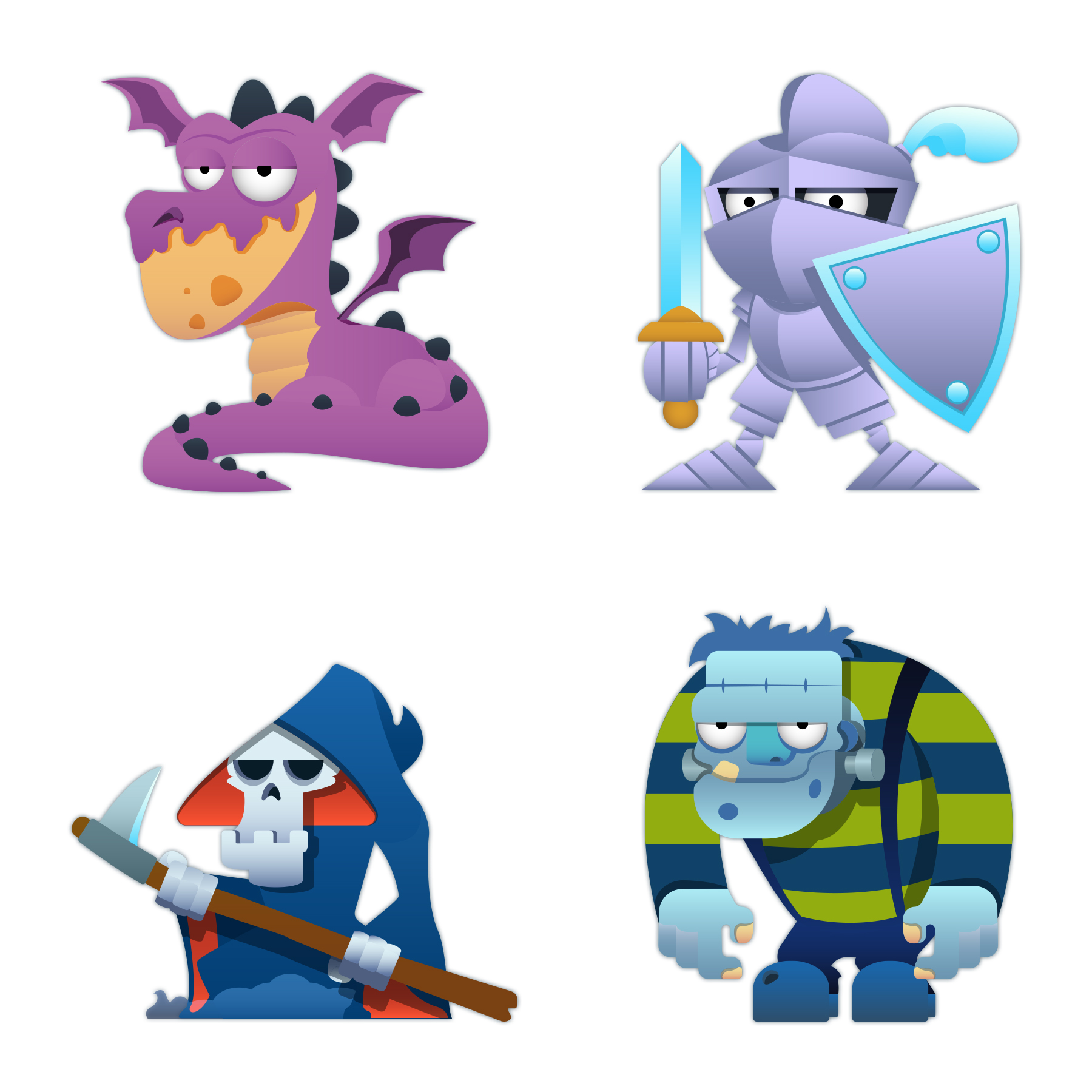 WordBrain Characters icons to the mobile game Wordbrain and word brain themes with different kinds of character design illustrations of fantasy creatures and animal icons in vector graphic