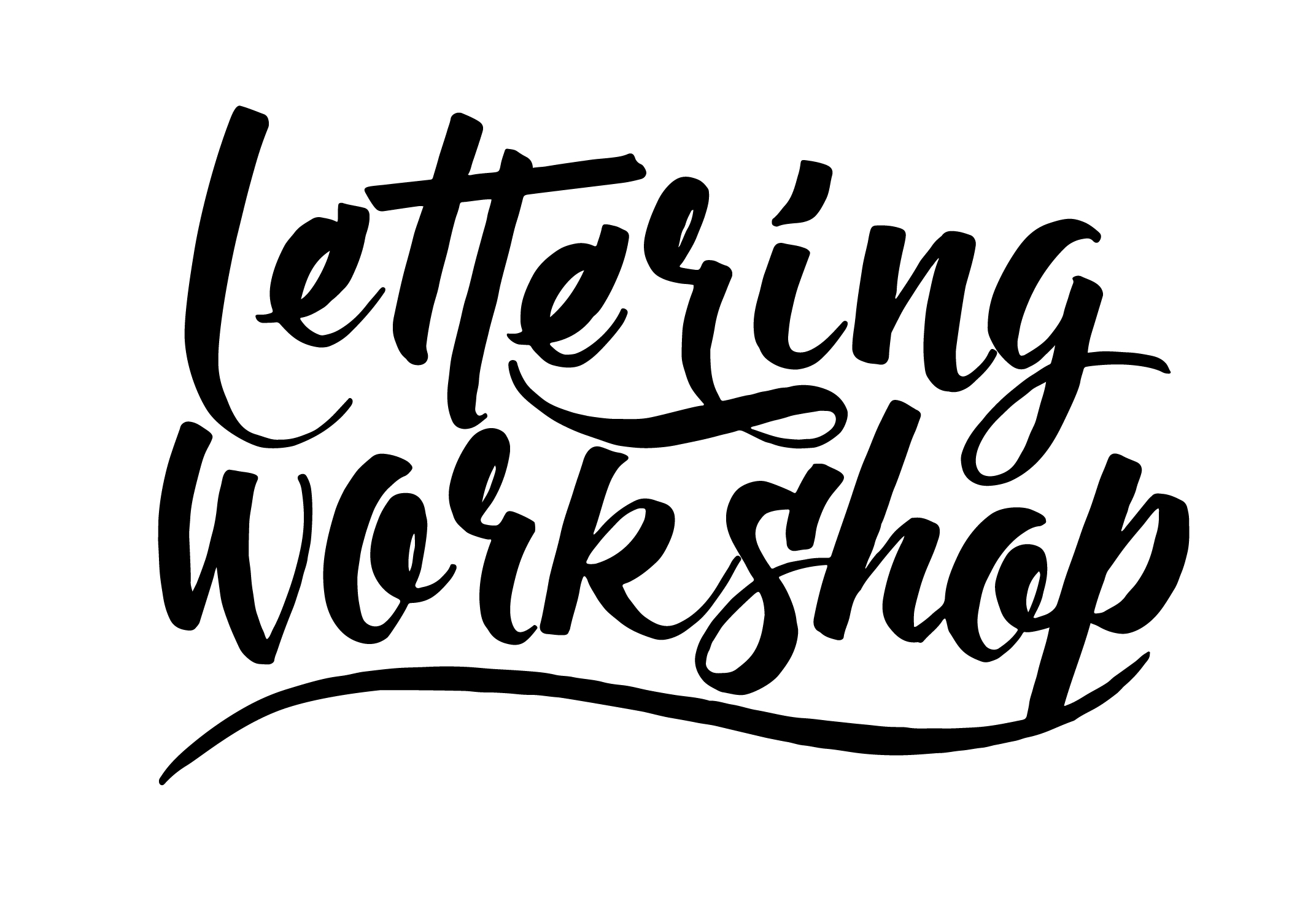 Lettering Workshop text written with brush pen